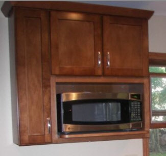 Wall cabinet with microwave cut-out