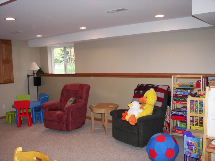 Basement rec room remodel playroom construction