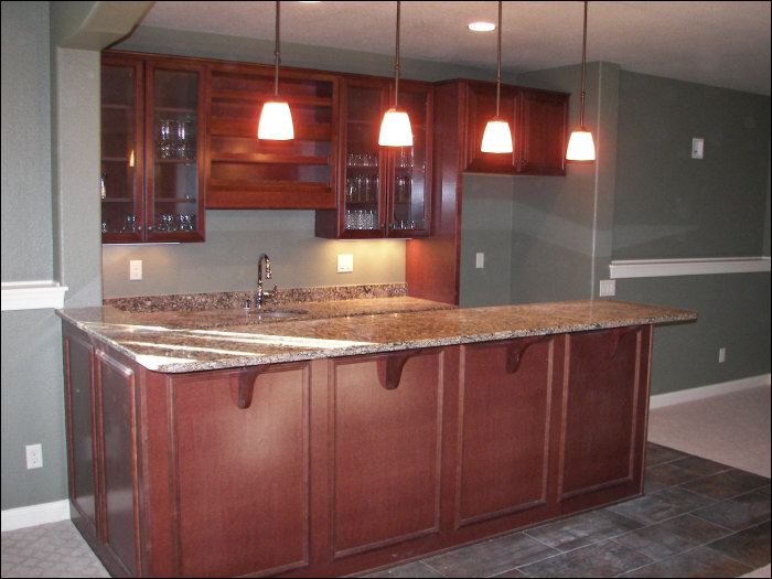 luxury wet bar with custom lighting