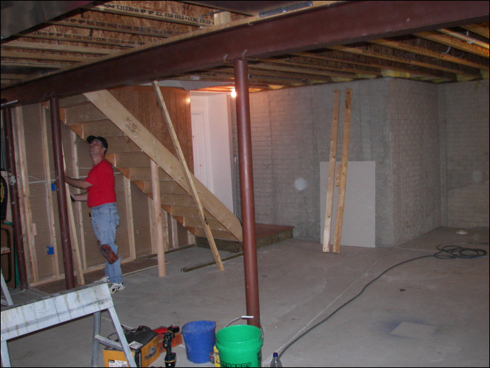 before construction living room remodel