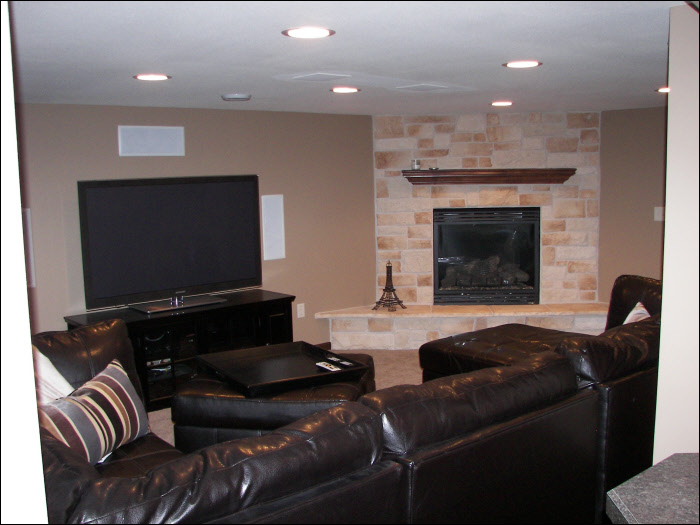 TV room modern with fireplace