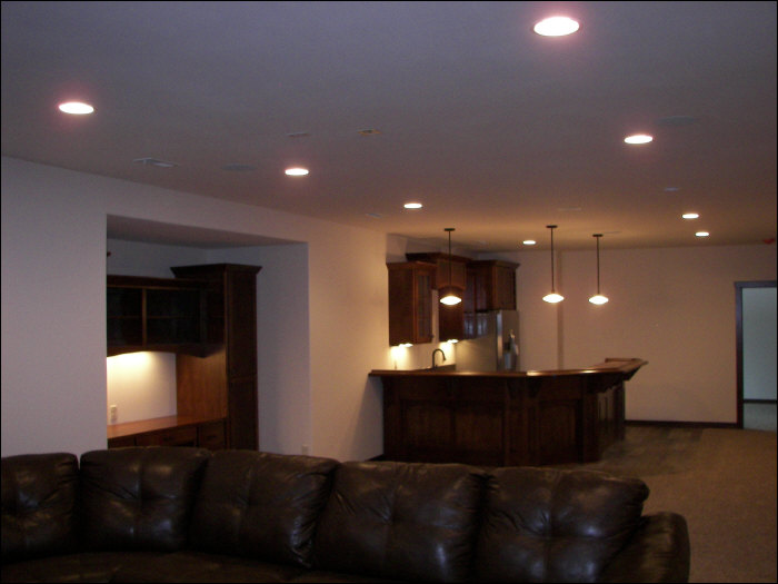 Basement living room & kitchen construction