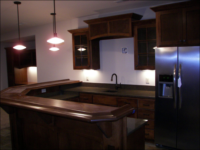 Basement remodel with custom kitchen lighting & cabinetry
