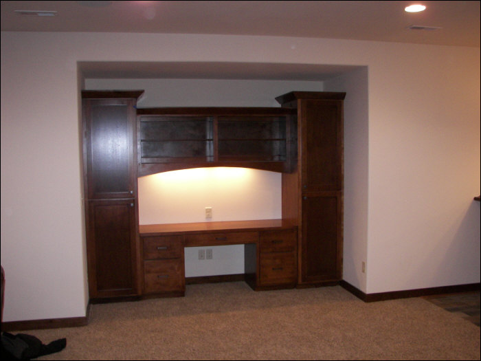 Basement entertainment center custom construction