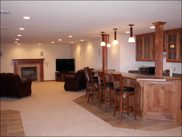 full basement remodel reality construction Summit, WI
