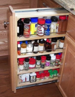 Pull out spice rack base cabinet